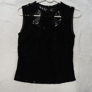 NWT Sleeveless Mixed Lace Cutout Black BeBe Top